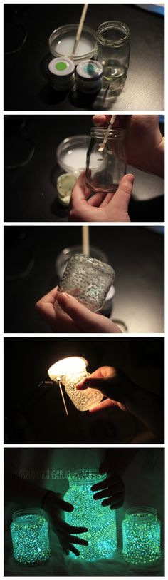 Glow in the dark mason jars...  Dot them with glow in the dark paint and let them charge with a lamp or sunlight.