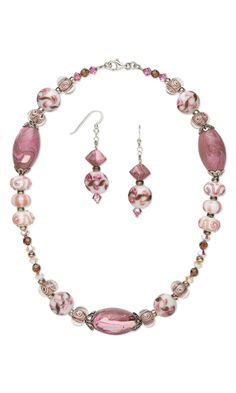 Single-Strand Necklace and Earring Set with Kato Polyclay™, Lampworked Glass Beads and Swarovski Crystal Beads