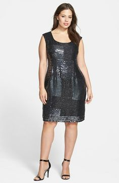 Adrianna Papell Beaded Shift Dress (Plus Size) available at #Nordstrom