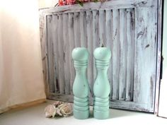 Tall Mint Green Salt and Pepper Set Sea Glass by WillowsEndCottage