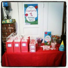 "Dr Seuss birthday party treat bag table and candy ""bar"""