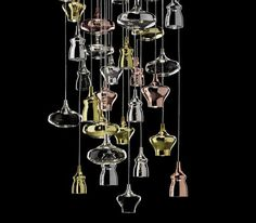 Great silhouettes.  Nostalgia handblown glass chandeliers in crystal, chrome, gold, and rose gold.  By Studio Italia Design.