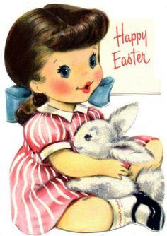 Vintage Card New Magnet Easter Bunny Girl Theme E4 | eBay