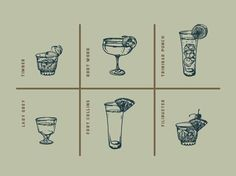 a peek at pieces coming together for Retreat s drink menu I commissioned illustrator Noah MacMillan from here in St Louis to draw all the glassware and garnishes ice etc separately and I ve be Drink Menu Design, Restaurant Menu Design, Restaurant Concept, Restaurant Branding, Restaurant Restaurant, Menu Illustration, Cocktail Illustration, Menue Design, Menu Layout