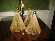 folded/spray painted Readers Digest Christmas trees and angels