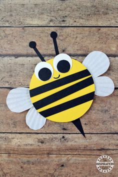 Wooden Craft Bumble Bees For Kids · The Inspiration Edit - chunky BUMBLE BEE CRAFT You are in the right place about school crafts Here we offer you the most b - Bees For Kids, Bee Crafts For Kids, Animal Crafts For Kids, Spring Crafts For Kids, Daycare Crafts, Art For Kids, Craft Kids, Summer Crafts, Spring Crafts For Preschoolers