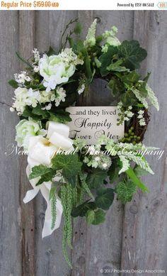 ON SALE Wedding Wreath, Bridal Shower Decor, Anniversary Wreath, Elegant Floral, Country Garden Wedding Wreath, Elegant Wedding, Romantic Wr