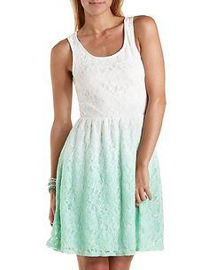 Dip-Dye Lace Skater Dress #tiedye #skaterdress #lace | Charlotte Russe