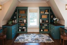 Tranquil Color in a Shared Office: Custom built-in cabinetry finished in Seabrook Classic Paint.