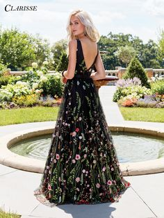 Black Floral Embroidered Prom Dress 3565