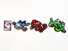 Pokemon Generation 3 Legendaries Perler - Kyogre / Groudon / Rayquaza Solgaleo Pokemon, Pyssla Pokemon, Hama Beads Pokemon, Pokemon Sprites, Pokemon Craft, Nintendo Pokemon, Pokemon Stuff, Motifs Perler, Perler Patterns