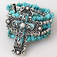 Turquoise Cowgirl Stone Rhinestone Cross Bracelet