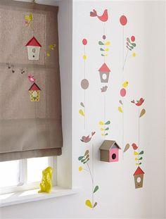 Stickers géants fille oiseaux et nichoir thème tralal'air BLANC MOYEN IMPRIME - vertbaudet enfant