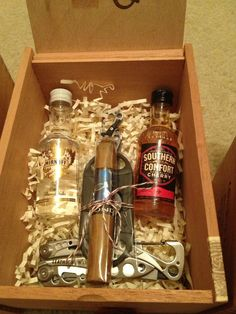 Groomsmen Gifts: Leatherman knives $47(Amazon), Acid Blondie cigar/cutter $7(Cigar Shop), Liquor $5, Cigar Boxes Free = roughly $60 per box.