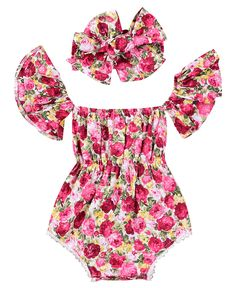 Baby Girls Flower Print Ruffle Sleeve Romper Off Shoulder Tassel Pompon Bodysuit Red): ☼☼☼Size Description(Approx. Cute Baby Girl Outfits, Baby Girl Romper, Little Girl Dresses, Baby Dress, Kids Outfits, Baby Girls, Baby Girl Fashion, Kids Fashion, Cute Rompers