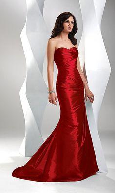 Elegant Sweetheart Mermaid Taffeta Long Evening Dresses Formal Gowns Red