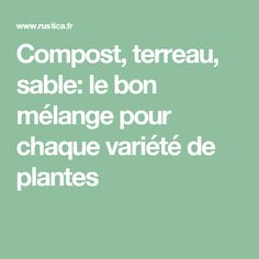 Compost, terreau, sable: le bon mélange pour chaque variété de plantes