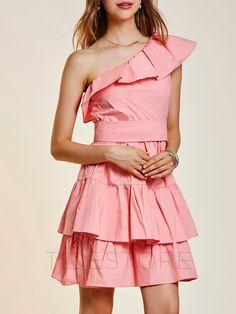 One-Shoulder Falbala Patchwork Women's Layered Dress