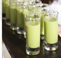 The Food    During the cocktail hour, waiters passed single-serving glasses of pea soup with a salt-and-pepper rim.