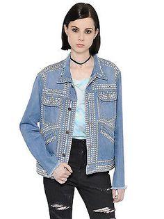 SAINT LAURENT PARIS 4000$ Authentic Blue Studs Strass Embellished Denim Jacket