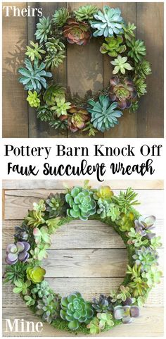 Comparison between Pottery Barn Knock Off Faux Succulent Wreath using Make it Fun Crafts Foam Wreath Form and Faux Succulents tutorial at the happy housie
