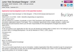 Ready for a job change? Junior Web Developer/Designer - UI/UX #vacancy in  Harrogate, North Yorkshire, UK. View the full advert on www.careers4graduates.com #itjobs #jobsearch