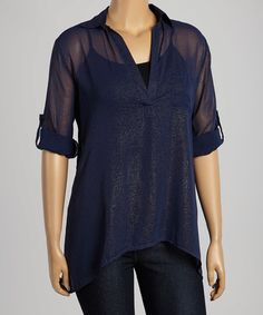 Another great find on #zulily! Navy Sheer Button-Up - Plus #zulilyfinds