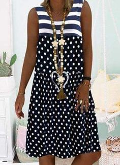 General Blue Day Dresses Polyester Casual Round Neckline Spring Summer A-line Dress Sleeveless S M Polka Dot Knee-Length L XL XXL Dress color:Dark Blue Linen Dresses, Day Dresses, Cotton Dresses, Casual Dresses, Fashion Dresses, Summer Dresses, Dresses Online, Ideias Fashion, Short Sleeve Dresses