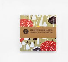 Coasters Big Size Kitchen Ceramic Tile Coasters Mushrooms Hostess Gift Mothers Day, set of 2 via Etsy
