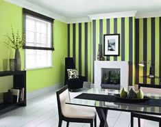 Creative pinstripe painted on contrast wall.