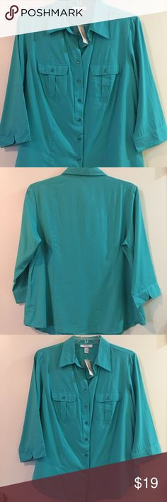 Just In✨NWT Dressbarn Button Down Top Beautiful Dressbarn button down top in Turquoise Color. 3/4 Sleeve. 2 Front Pockets. Size 14/16-1X Dress Barn Tops Button Down Shirts