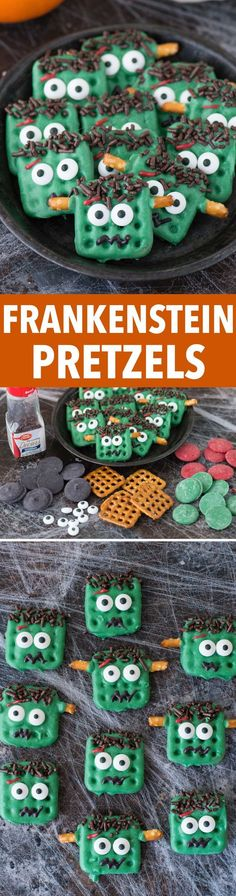 Easy halloween frankenstein pretzels using candy melts, pretzels, and a few simp. Easy halloween frankenstein pretzels using candy melts, pretzels, and a few simple ingredients! Kids can definitely help with this easy to make halloween treat! Halloween Desserts, Halloween Cupcakes, Halloween Food For Party, Halloween Treats, Halloween Recipe, Halloween Games, Halloween Costumes, Sac Halloween, Halloween Stuff