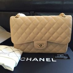 9e7d50a2e274 Chanel jumbo caviar double flap Authentic Caviar Beige with gold hardware! Complete  set. Absolutely