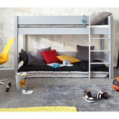 Cama alta infantil 90 × 190 de madera gris   Maisons du Monde