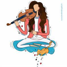 El placer de #ilustrar la #música y el talento! #violin #ilustracion #musica www.claudiasabogal.com