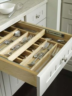 Sliding, double stacked kitchen drawer organizers:Top 27 Clever and Cute DIY Cutlery Storage Solutions