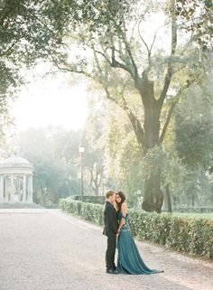 Gorgeous emerald gown from this romantic Rome engagement shoot