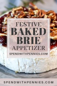 This baked brie recipe is made extra simple without pastry! Just top your brie wheel with cranberry pecan mixture and baked until ooey gooey for the best party appetizer. It is so easy to make and turns out so fancy and delicious. Baked Brie Appetizer, Cheese Appetizers, Yummy Appetizers, Appetizer Recipes, Best Party Appetizers, Holiday Appetizers, What Is Baking, Baked Brie Recipes, Homemade Apple Pie Filling