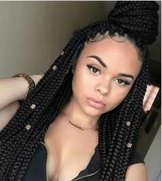 Long Box Braids: 67 Hairstyles To Upgrade Your Box Braids - Hairstyles Trends Nigerian Braids Hairstyles, Box Braids Hairstyles, Protective Hairstyles, Protective Styles, Drawing Hairstyles, Korean Hairstyles, Hairstyles 2018, African Hairstyles, Big Box Braids