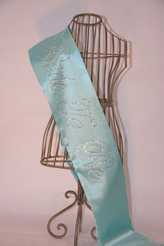 Breakfast At Tiffany's Bride To Be- Bachelorette Sash - Tiffany Blue. $33.00, via Etsy. (Fun color theme too)