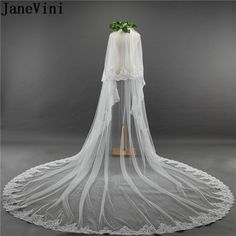 Cathedral Wedding Veil Long Lace Edge Bridal Accessories Comb Mantilla Polyester