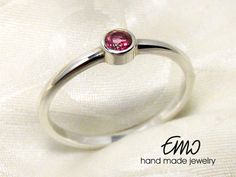 Natural Pink Topaz 3mm Silver Sterling Ring Solitaire by Emostudio