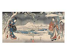 Stampa fine art su canvas con telaio in legno Snowy - 100x50x4 cm