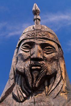 Wood sculpture of Djengis Khan, Mongolia