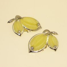 Vintage 1950s Earrings Marboux Yellow Thermoset by 4dollsintime, $28.50