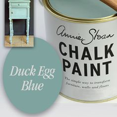 Chalk Paint Decorative Paint by Annie Sloan, Quart, Color-Duck Egg Blue, BrushStrokes By Mary Anne