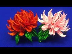 Sharp kanzashi petal/Pétalo kanzashi afilado/Острый РDiy Ribbon Flowers, Ribbon Flower Tutorial, Kanzashi Flowers, Ribbon Art, Ribbon Crafts, Felt Flowers, Flower Crafts, Fabric Flowers, Fabric Crafts