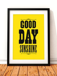Beatles song lyric art, The Beatles art print, music inspired print, typographic print, Good Day Sunshine, The Beatles, song lyric print