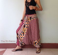 Be lively with colourful printed fabric ,Easy to match with simple top and flat type shoes.  This pant can be extremely large and baggy, with a very