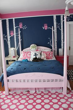 Navy Pink Owls LOVE
